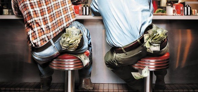 Two people sitting on stools at a diner with money bulging out of their back pockets.